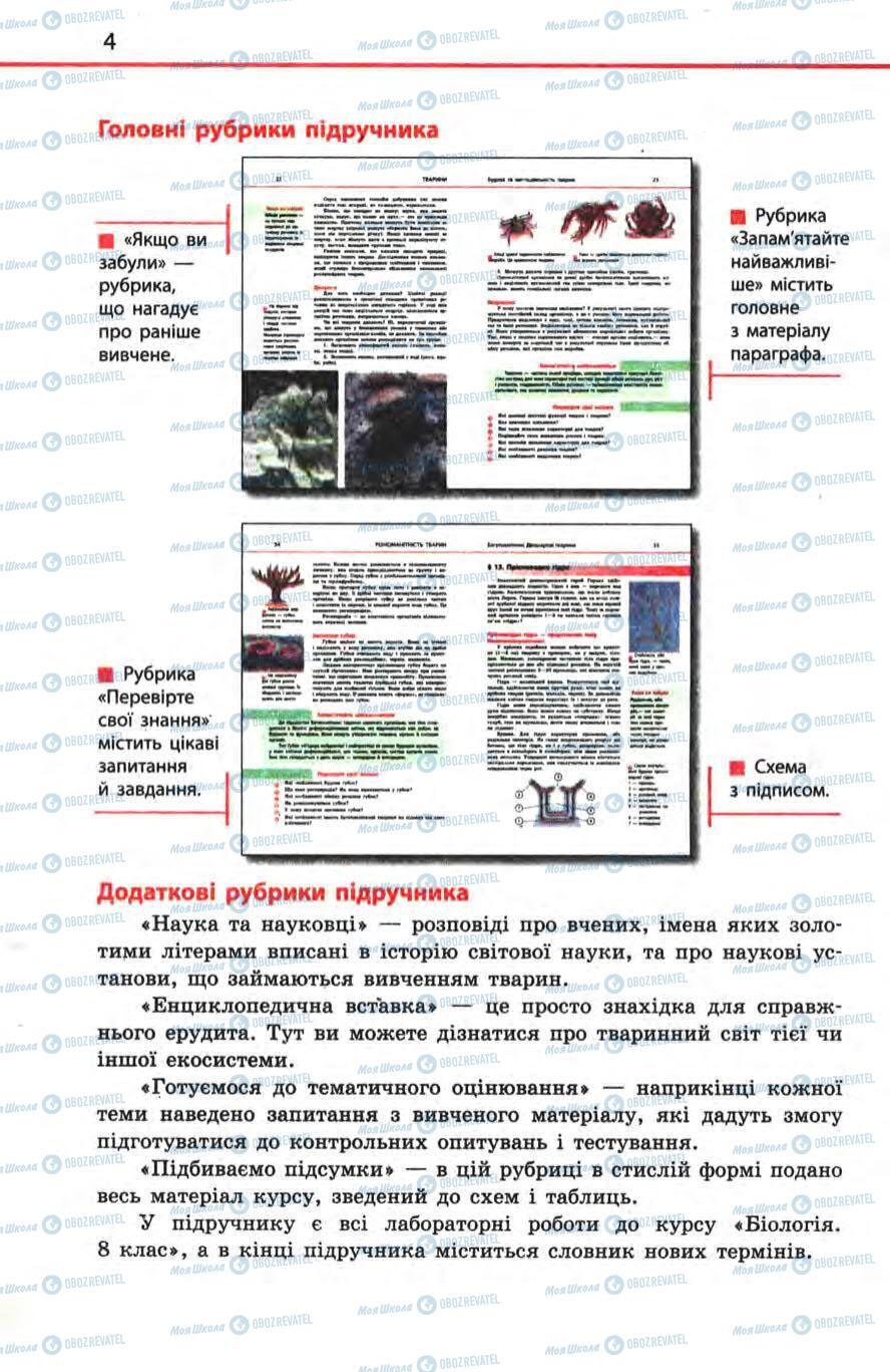 Підручники Біологія 8 клас сторінка 4