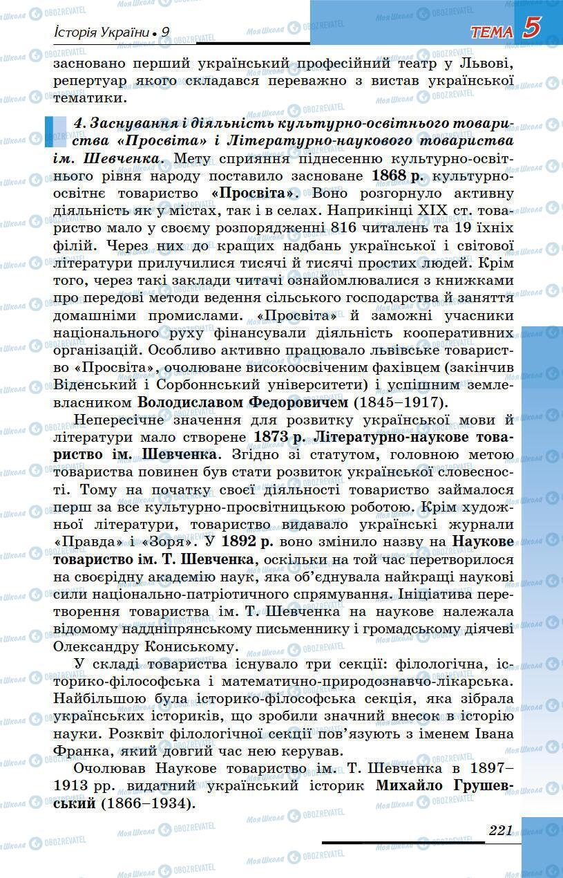 Підручники Історія України 9 клас сторінка 221