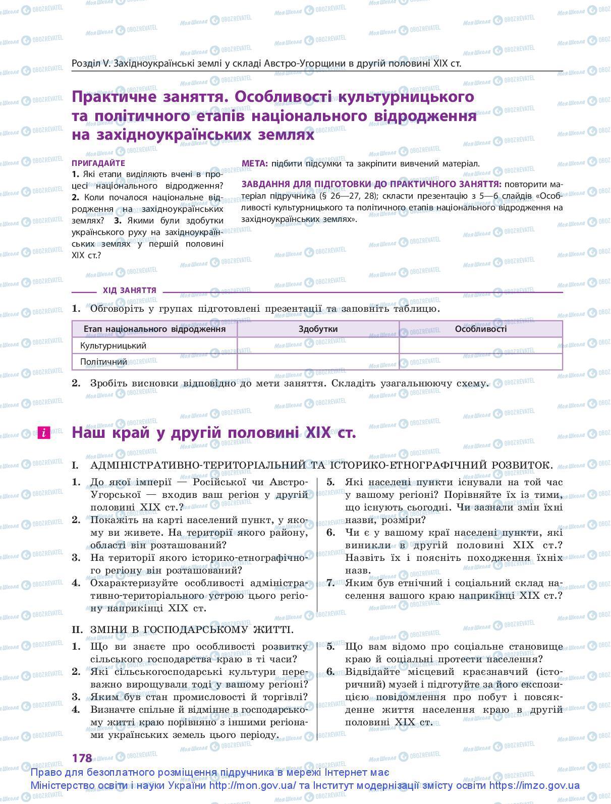 Підручники Історія України 9 клас сторінка 178
