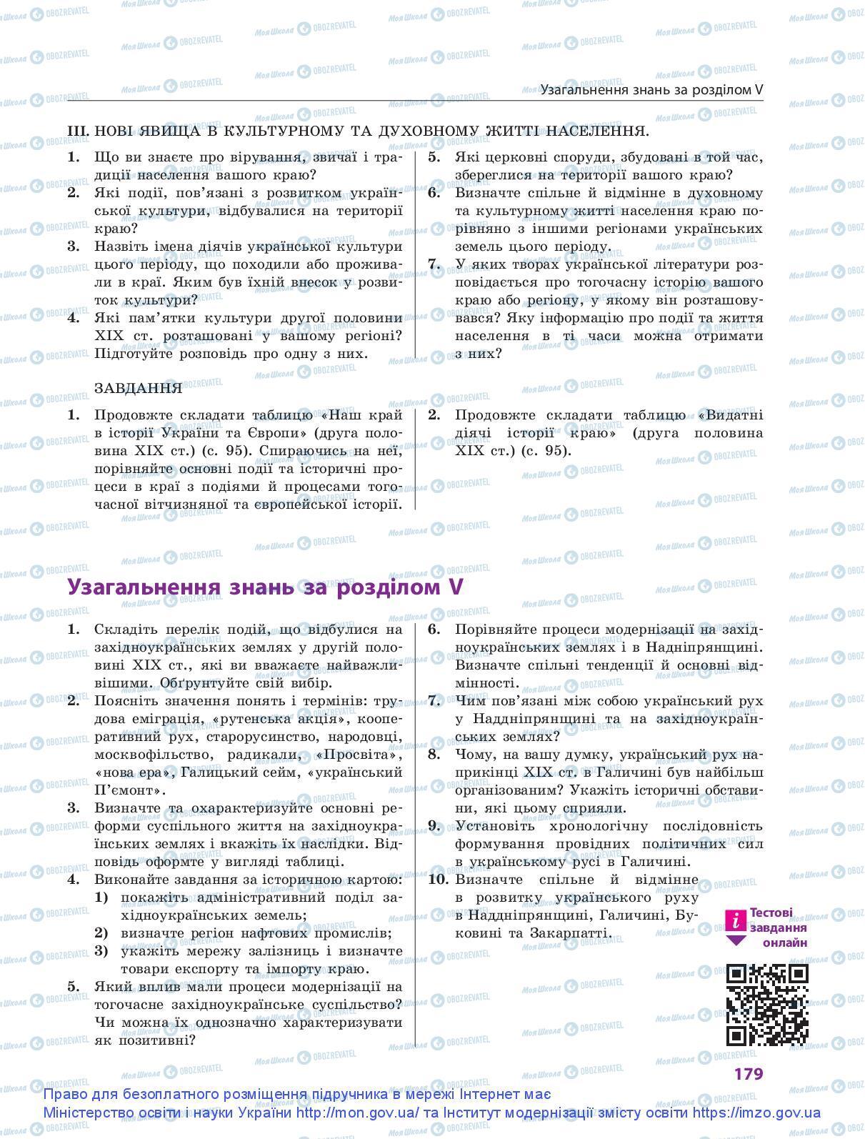 Підручники Історія України 9 клас сторінка 179