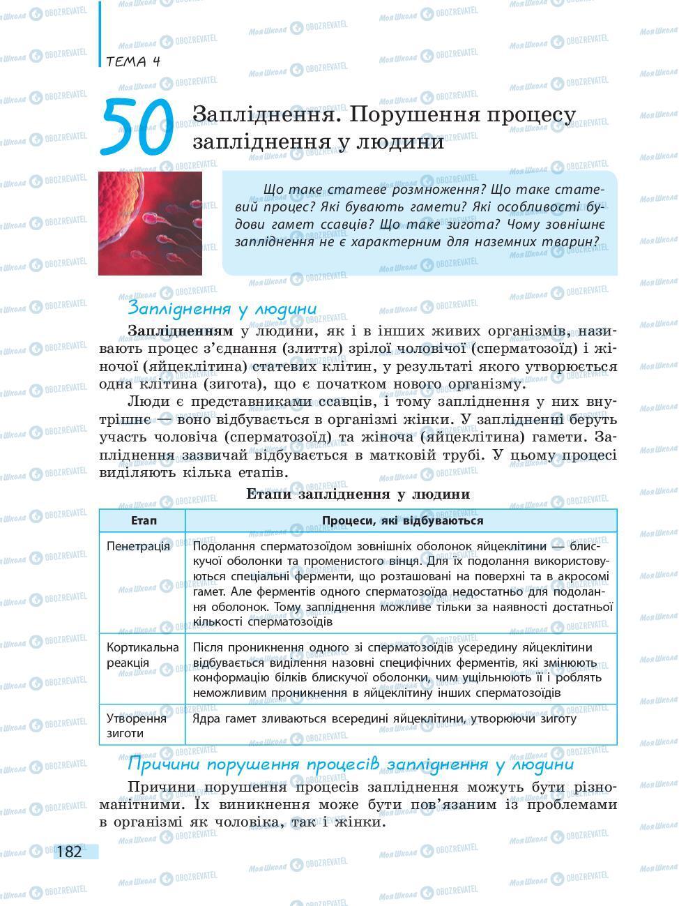 Підручники Біологія 10 клас сторінка 182