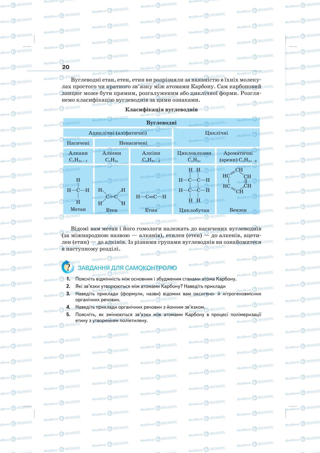 Підручники Хімія 10 клас сторінка 20