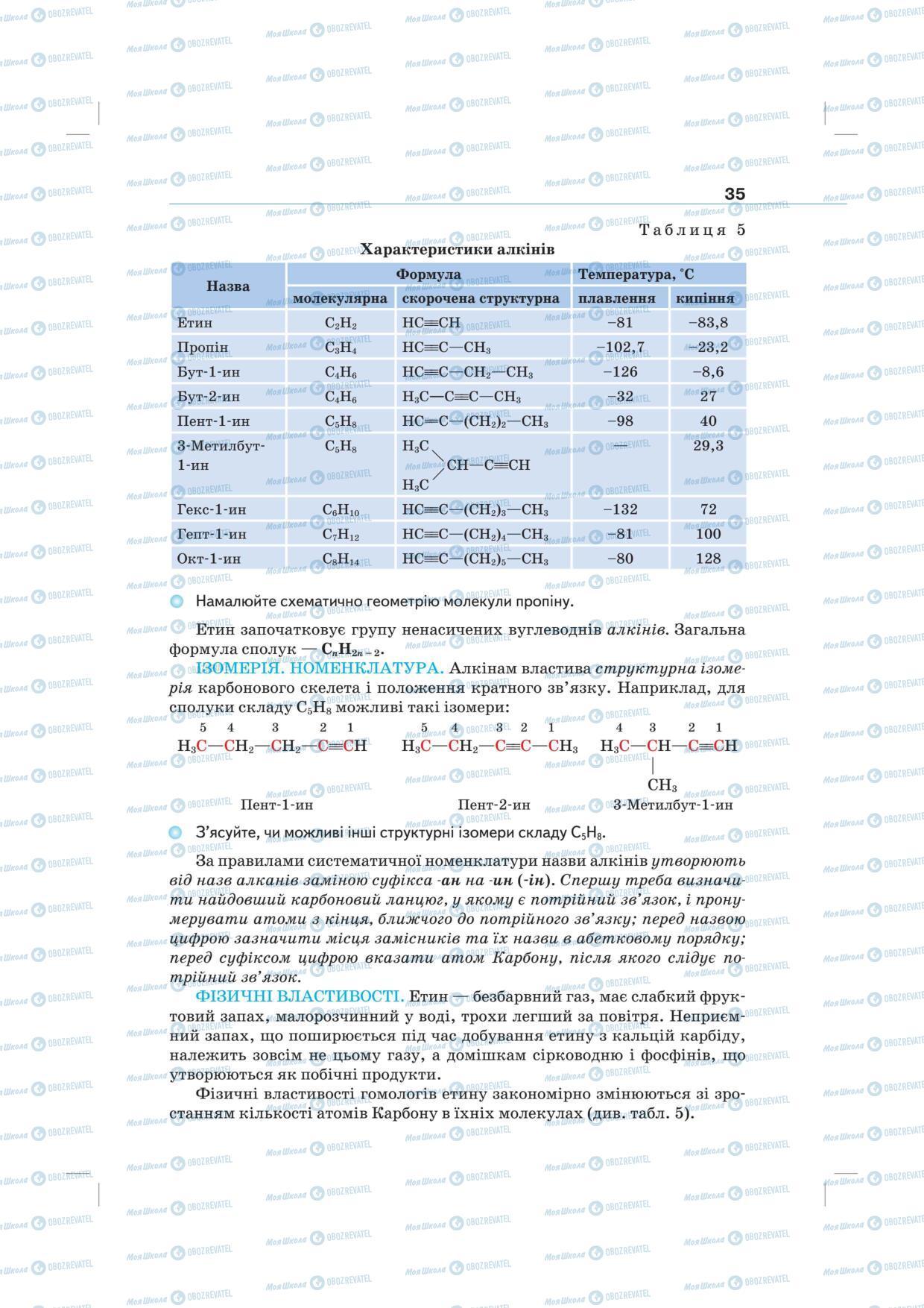 Підручники Хімія 10 клас сторінка 35