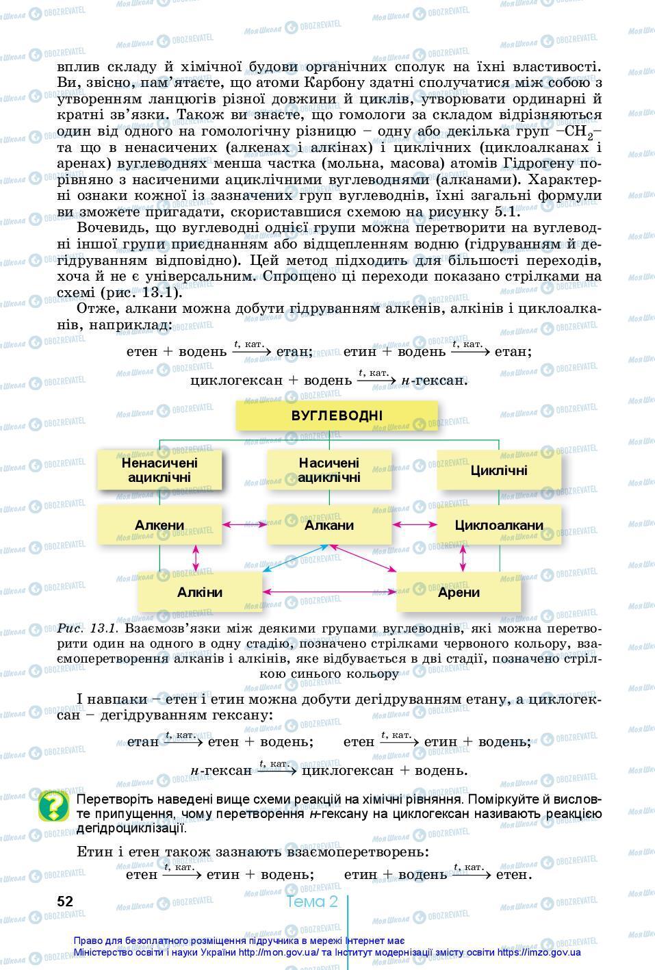 Підручники Хімія 10 клас сторінка 52