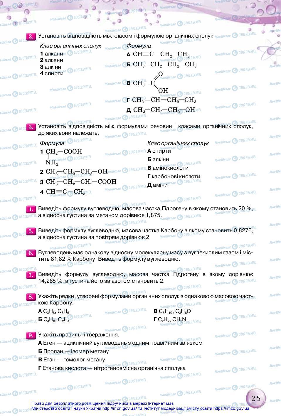 Підручники Хімія 10 клас сторінка 25