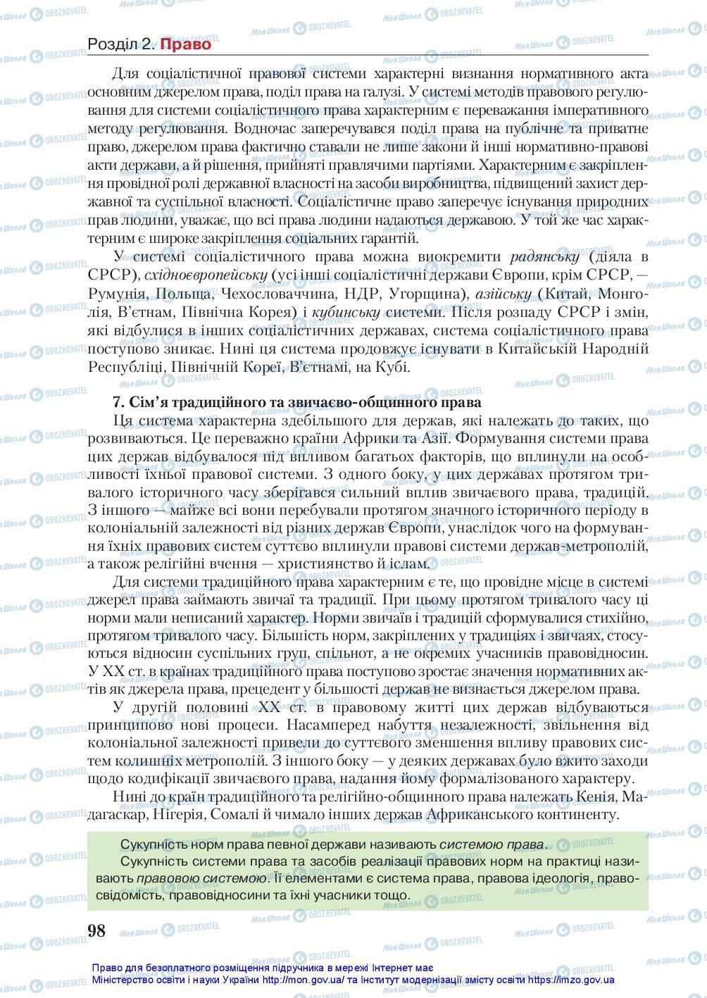 Підручники Правознавство 10 клас сторінка 98