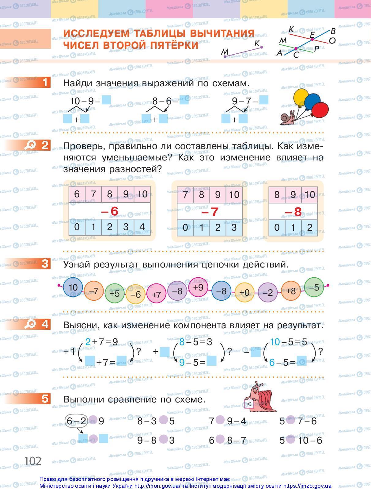 Підручники Математика 1 клас сторінка 102
