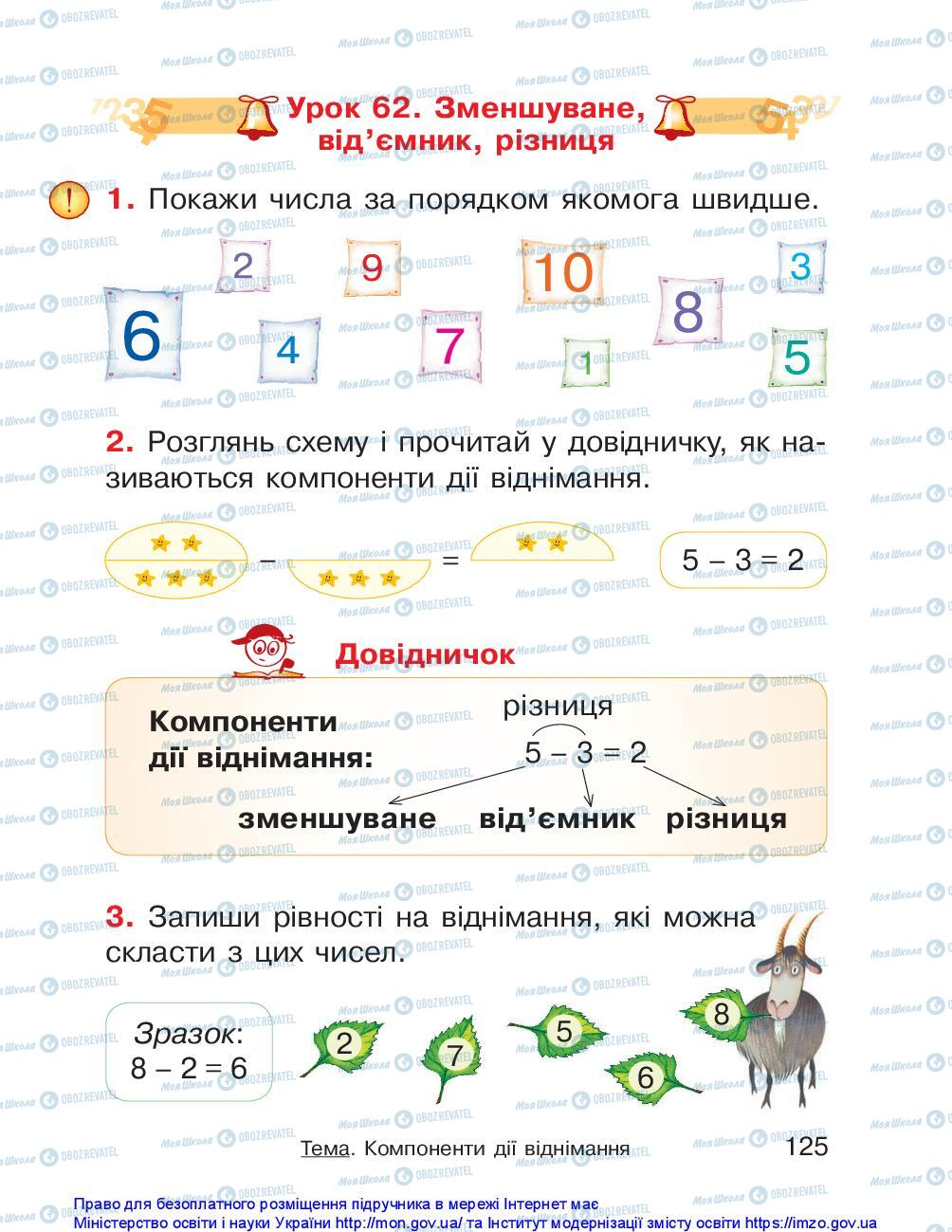 Учебники Математика 1 класс страница 125