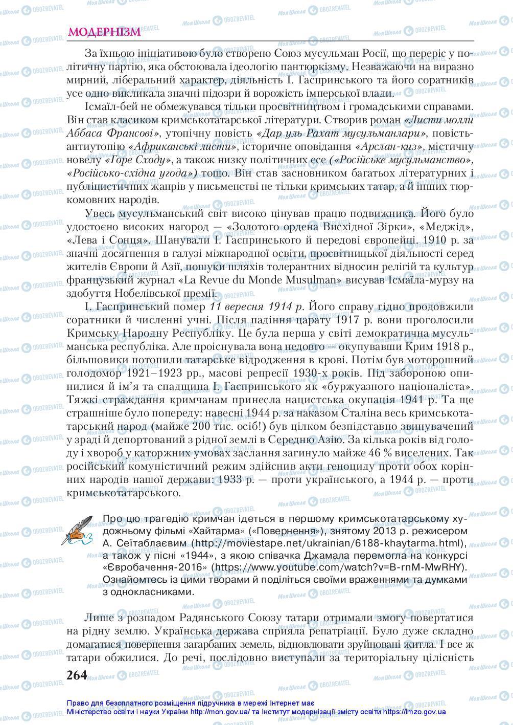 Підручники Українська література 10 клас сторінка 264