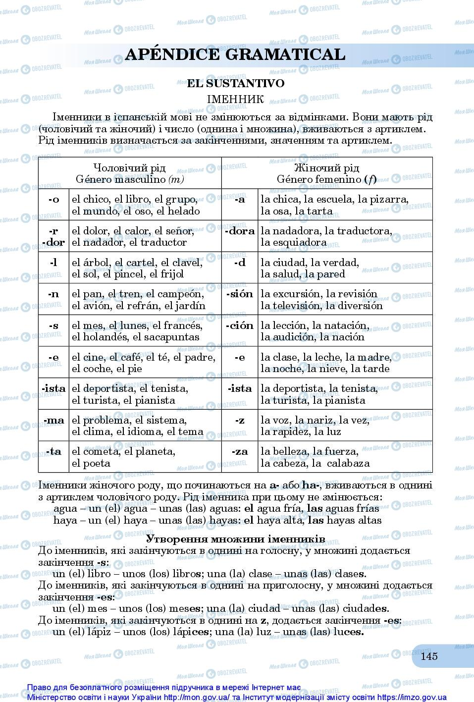 Підручники Іспанська мова 10 клас сторінка 145