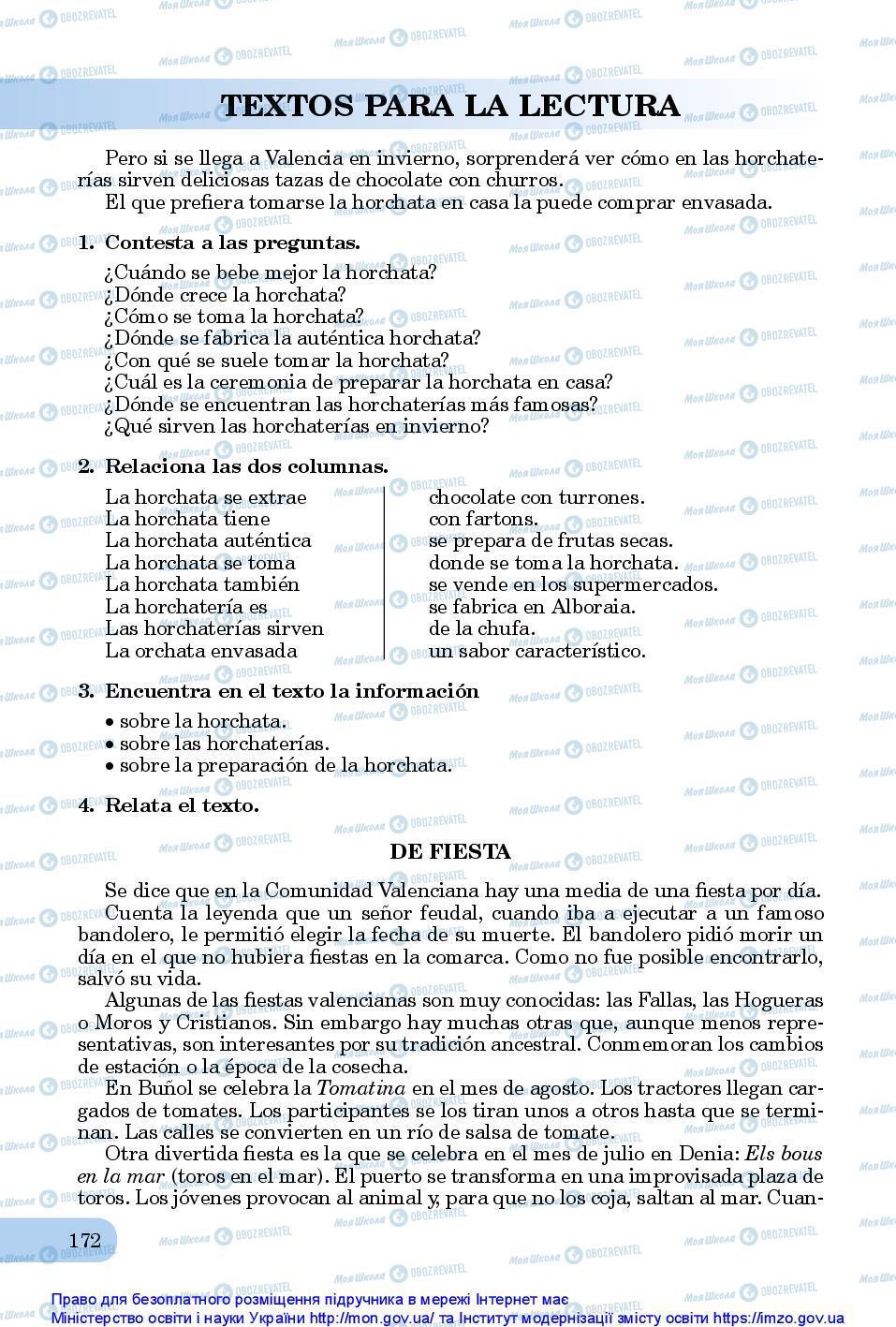 Підручники Іспанська мова 10 клас сторінка 172