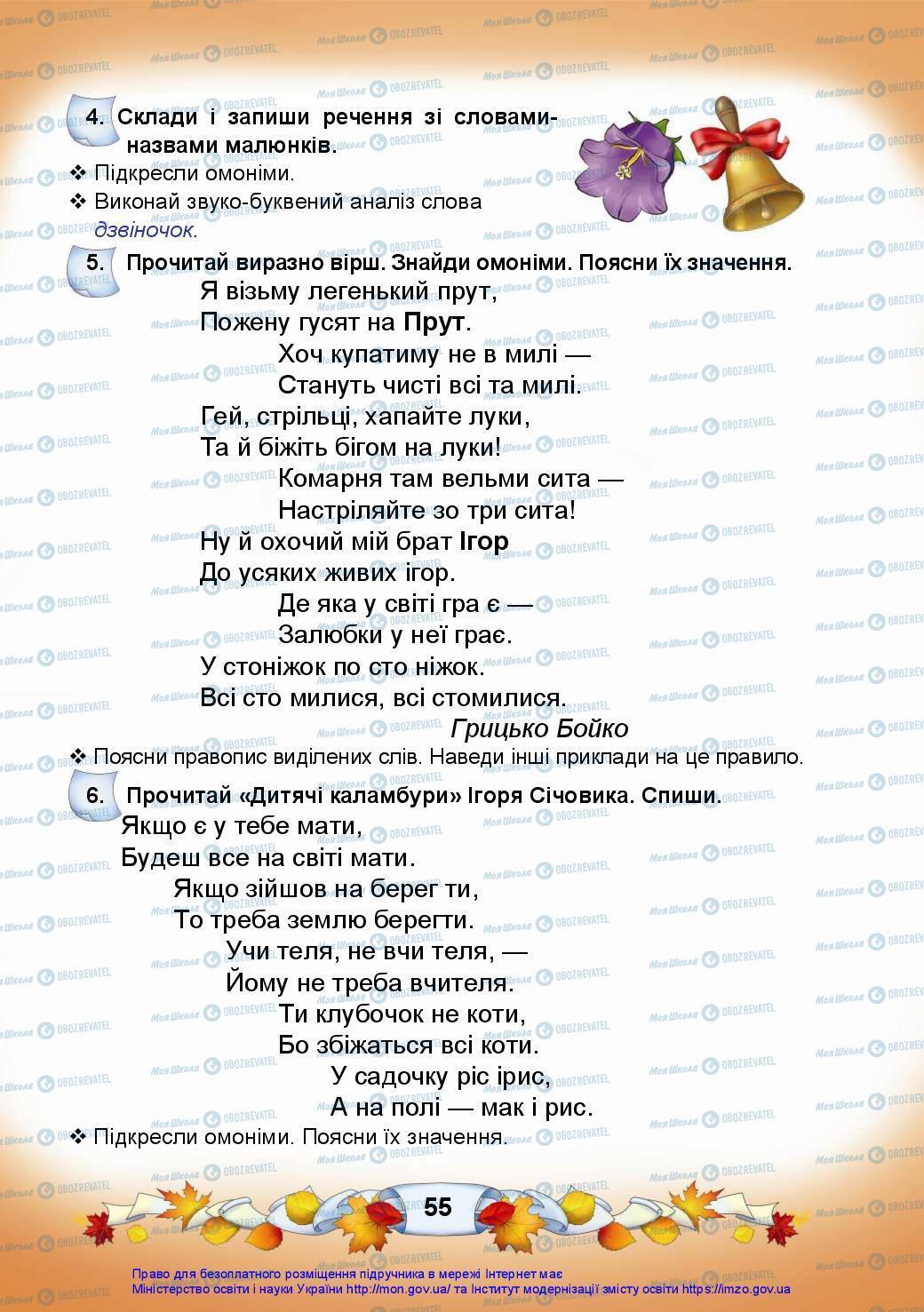 Підручники Українська мова 3 клас сторінка 55