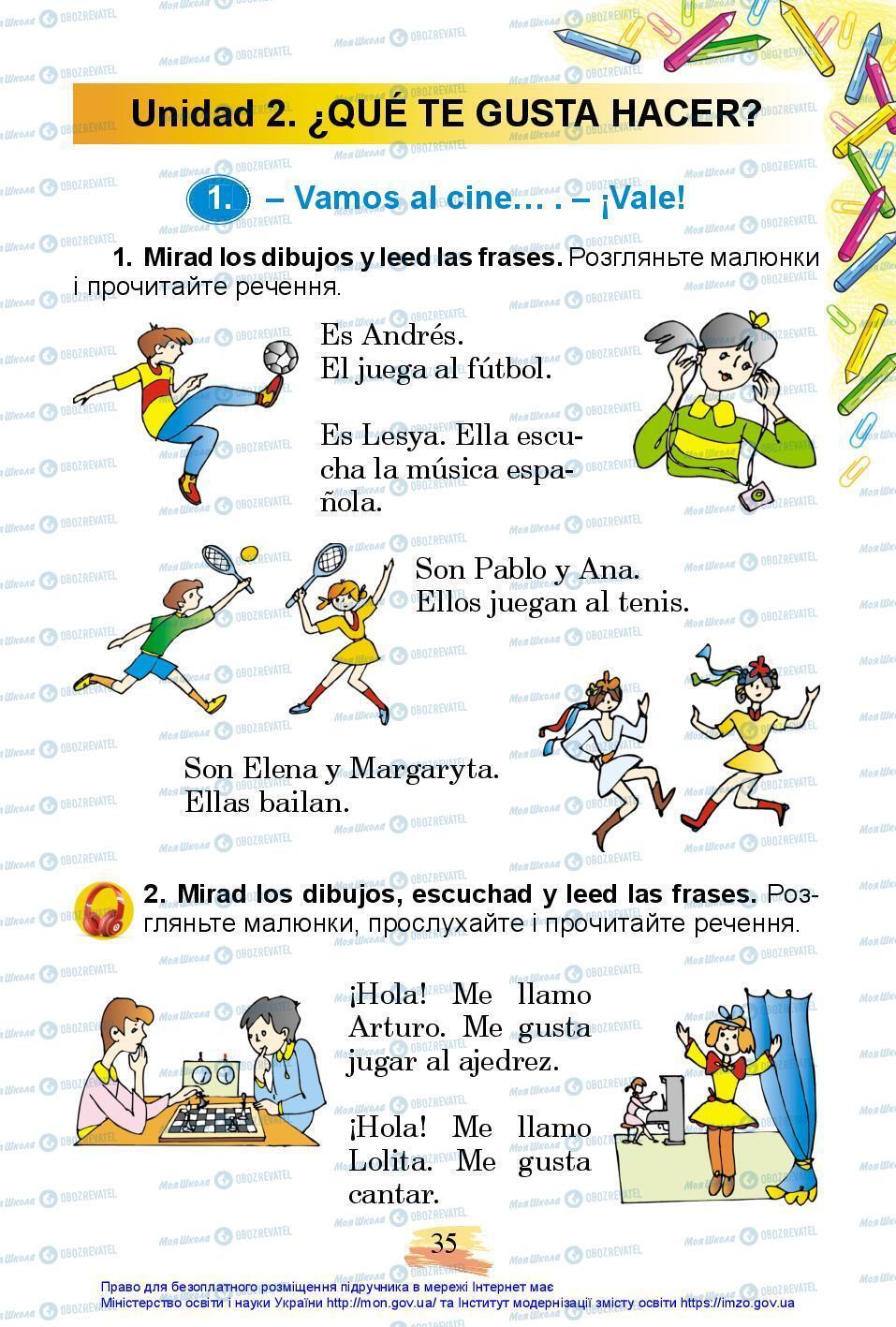 Учебники Испанский язык 3 класс страница 35