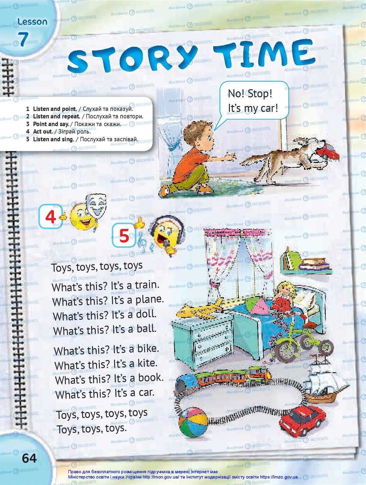 Підручники Англійська мова 1 клас сторінка 64