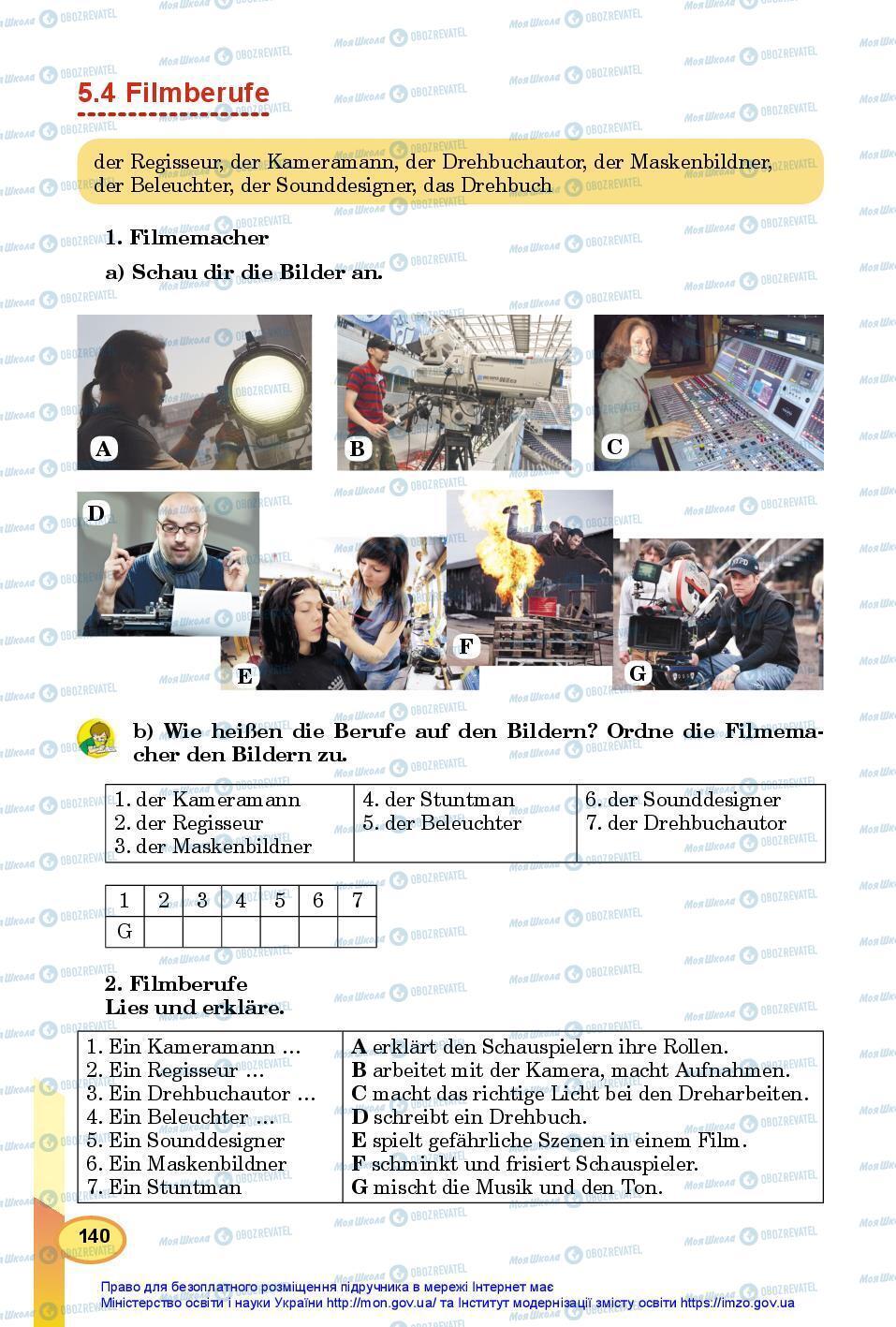 Підручники Німецька мова 7 клас сторінка 140