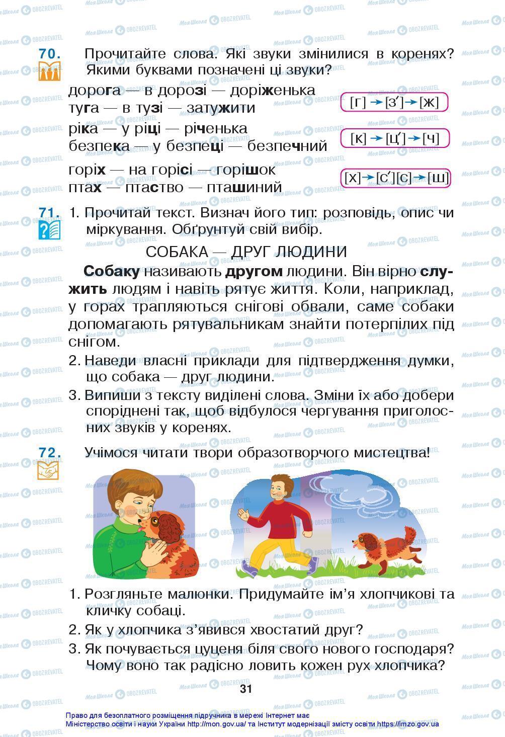 Підручники Українська мова 3 клас сторінка 31