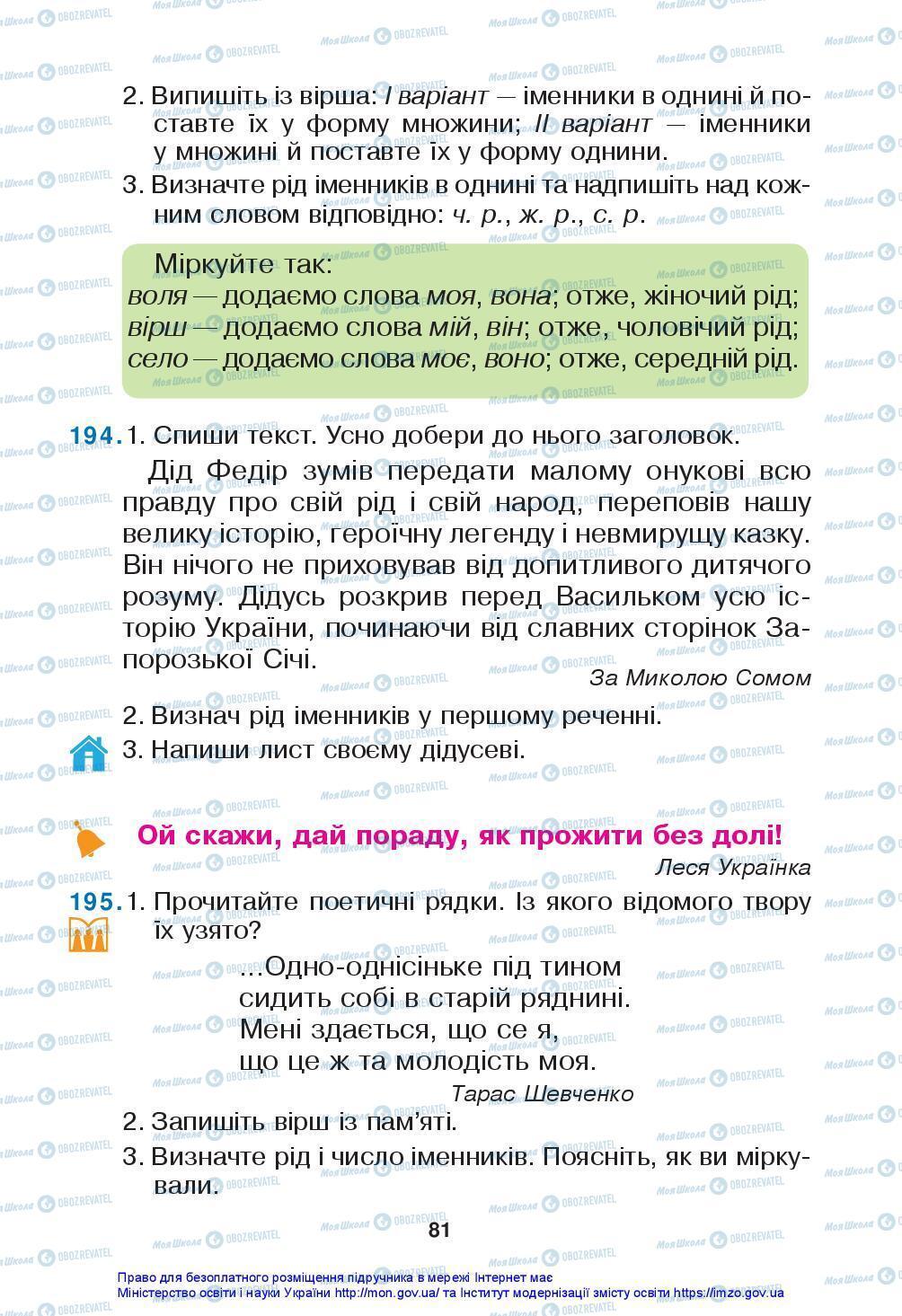Підручники Українська мова 3 клас сторінка 81