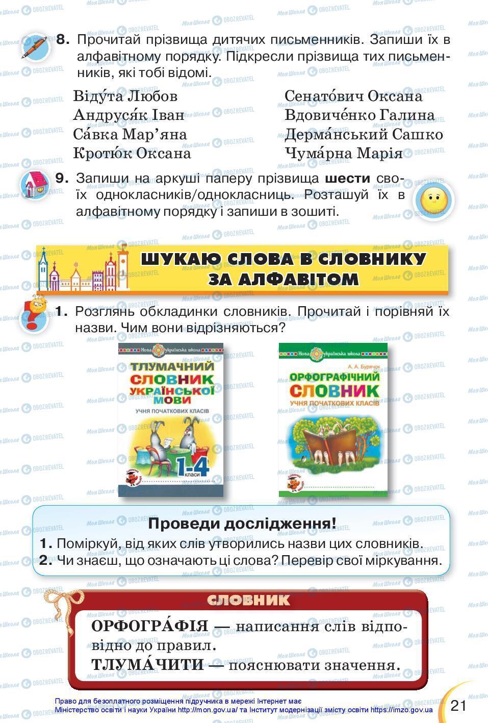 Підручники Українська мова 3 клас сторінка 21