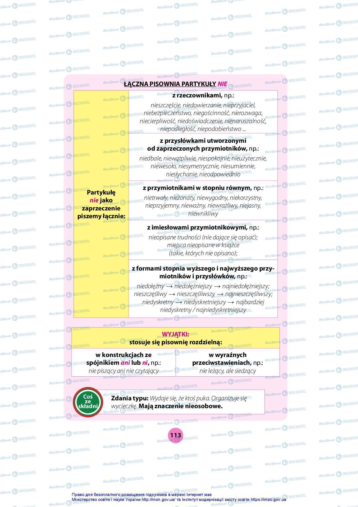 Підручники Польська мова 7 клас сторінка 113
