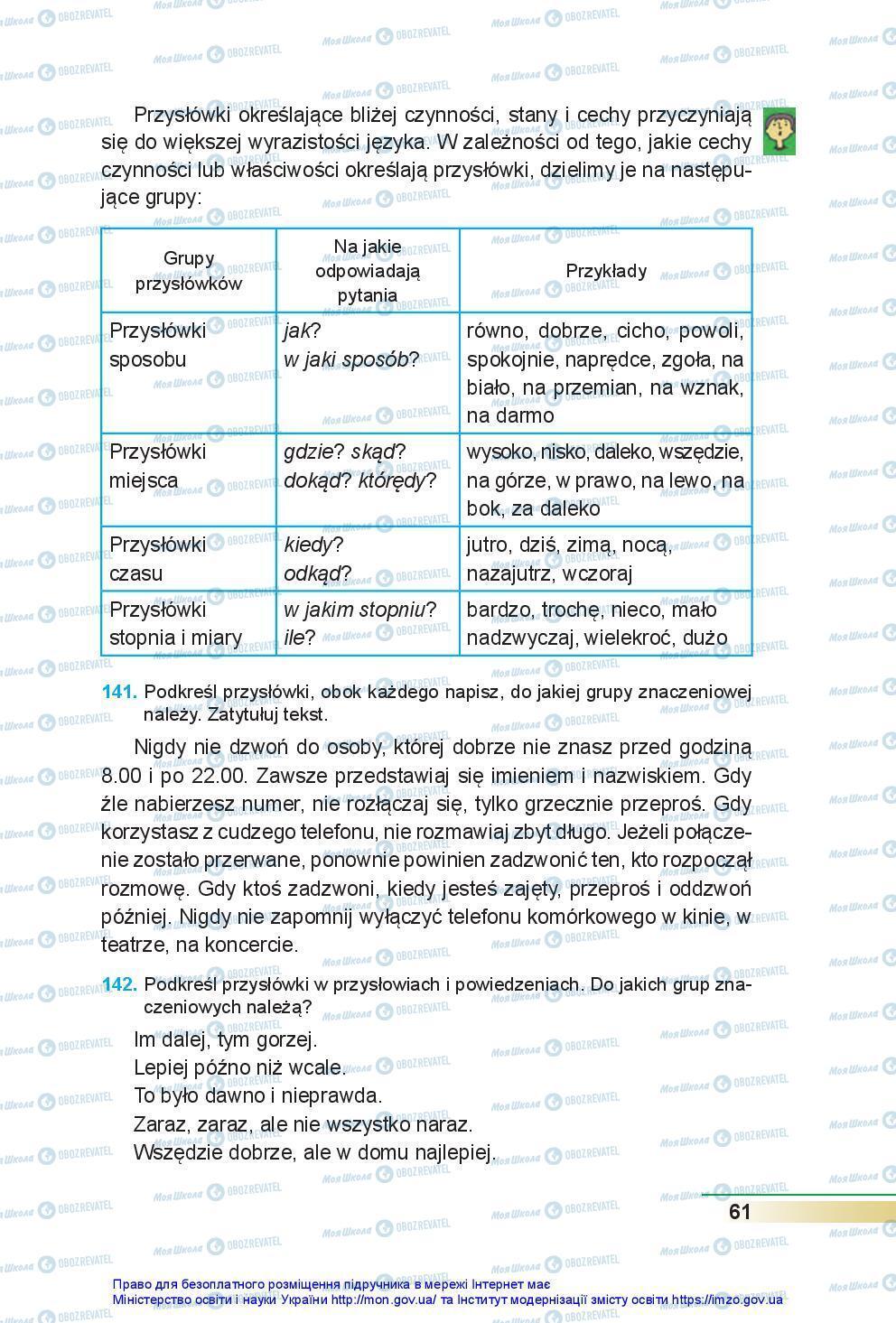Підручники Польська мова 7 клас сторінка 61