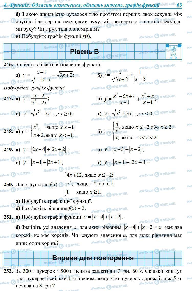 Підручники Алгебра 9 клас сторінка 63