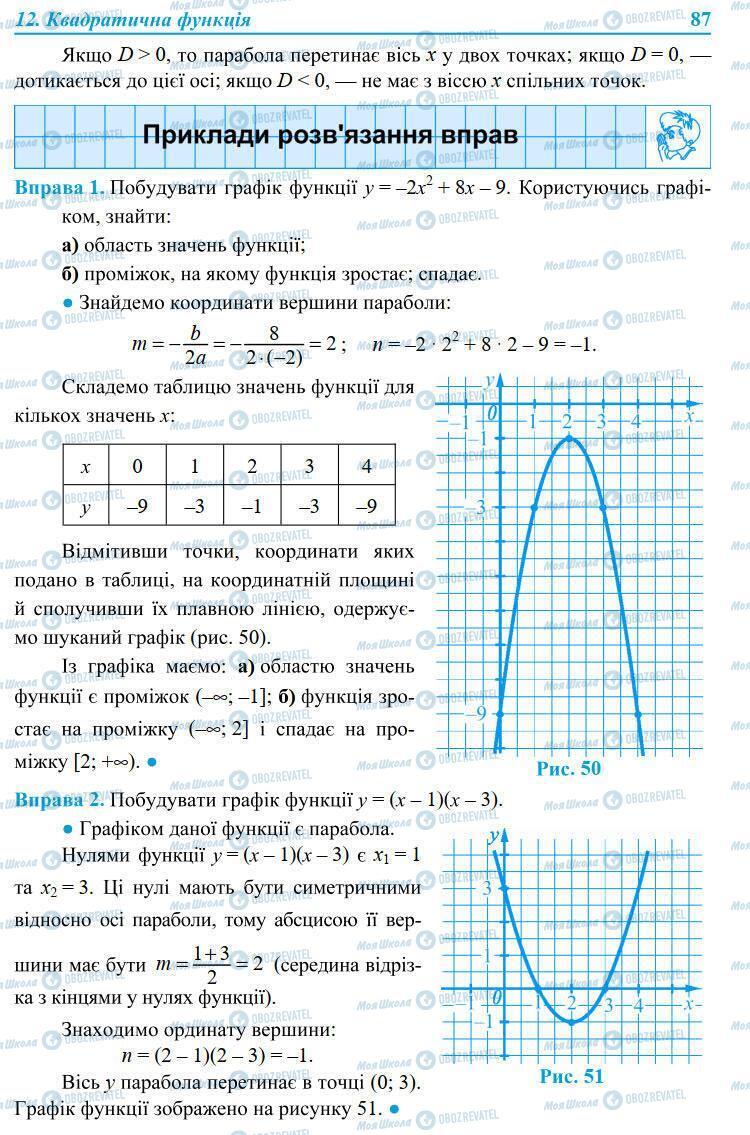 Підручники Алгебра 9 клас сторінка 87