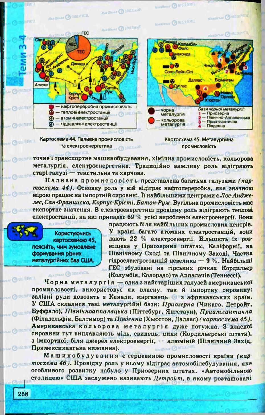 Підручники Географія 10 клас сторінка 258