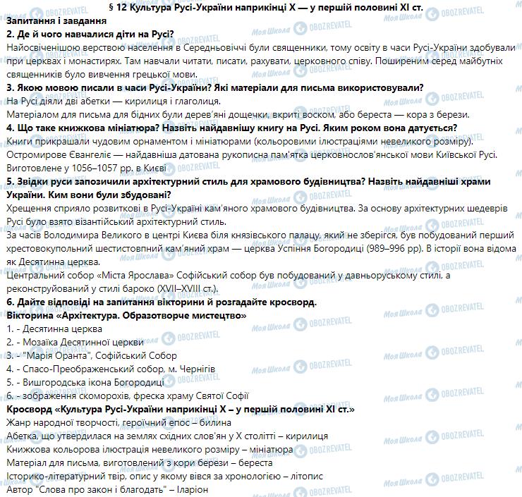 ГДЗ Історія України 7 клас сторінка 12
