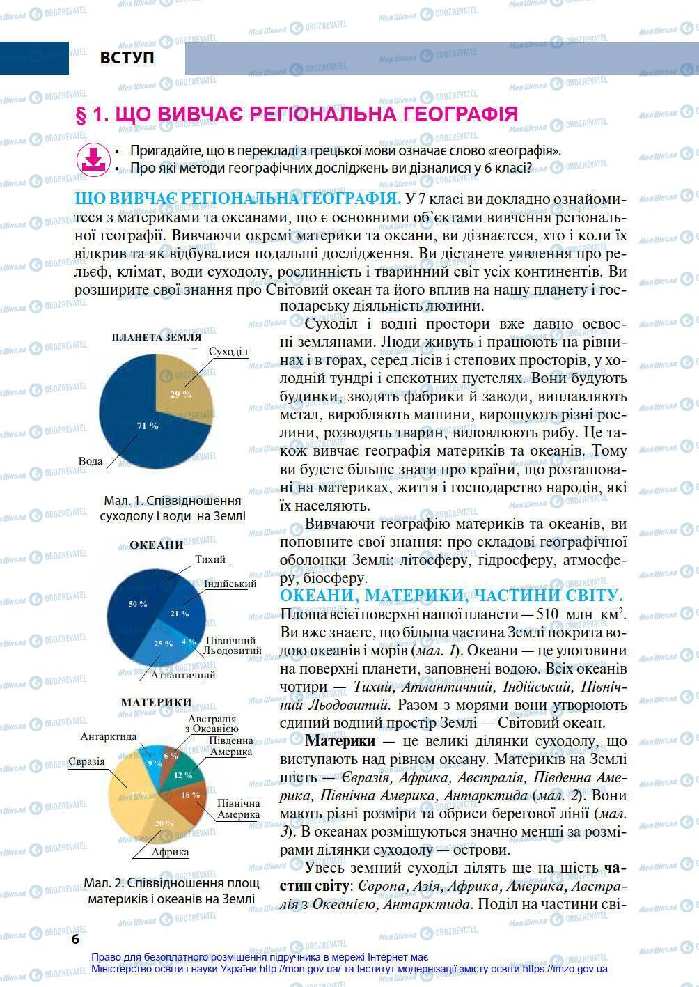 Підручники Географія 7 клас сторінка 6