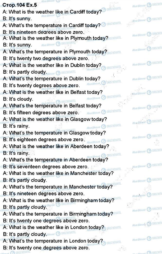 ГДЗ Англійська мова 5 клас сторінка p104ex5