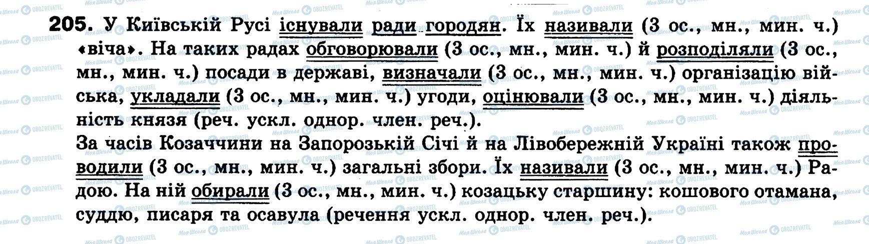 ГДЗ Українська мова 8 клас сторінка 205