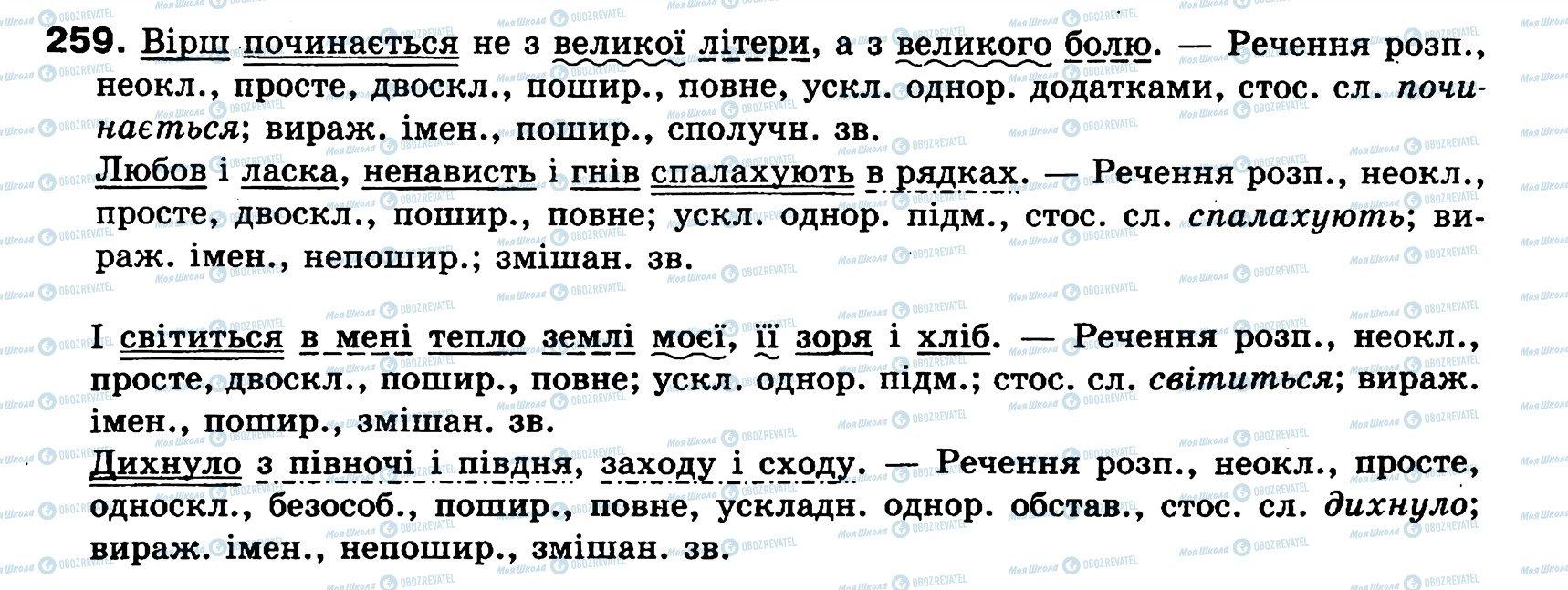 ГДЗ Укр мова 8 класс страница 259