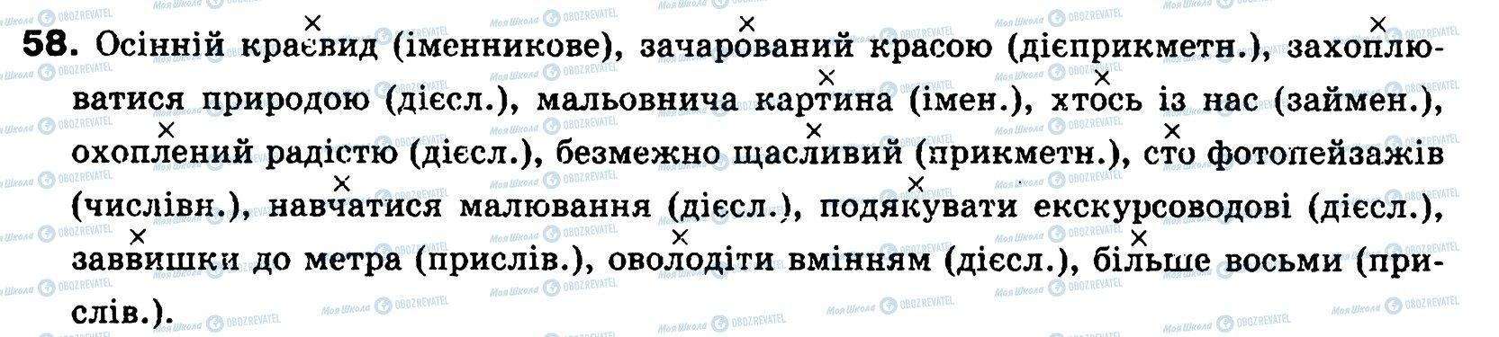 ГДЗ Українська мова 8 клас сторінка 58