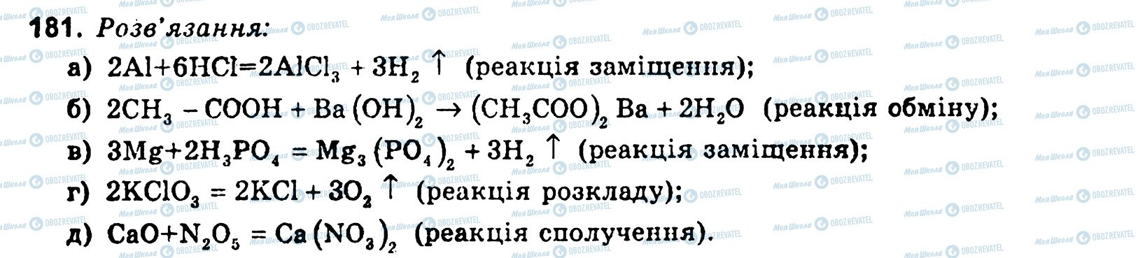 ГДЗ Хімія 11 клас сторінка 181