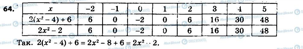 ГДЗ Алгебра 7 клас сторінка 64