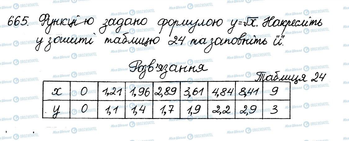 ГДЗ Алгебра 8 клас сторінка 665