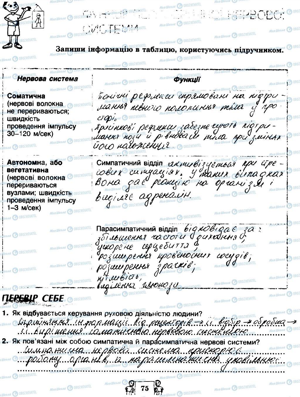 ГДЗ Биология 8 класс страница 75