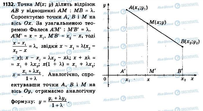 ГДЗ Геометрія 9 клас сторінка 1132