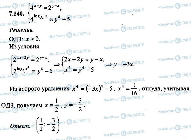 ГДЗ Алгебра 10 клас сторінка 140