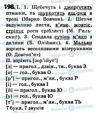 ГДЗ Українська мова 5 клас сторінка 198