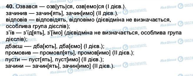 ГДЗ Українська мова 5 клас сторінка 40