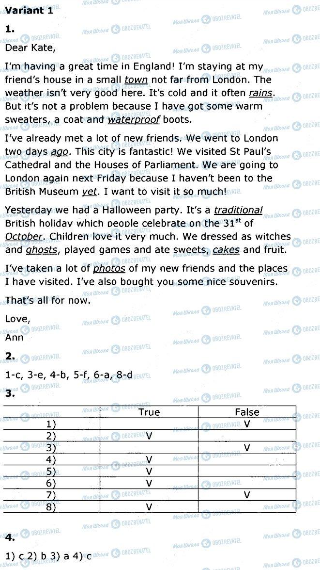 ГДЗ Англійська мова 5 клас сторінка V1