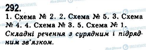 ГДЗ Українська мова 9 клас сторінка 292