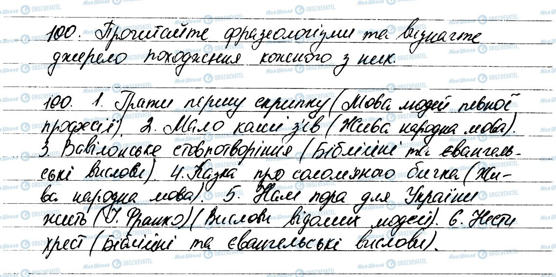 ГДЗ Укр мова 6 класс страница 100