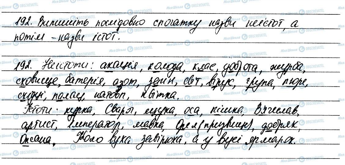 ГДЗ Українська мова 6 клас сторінка 192