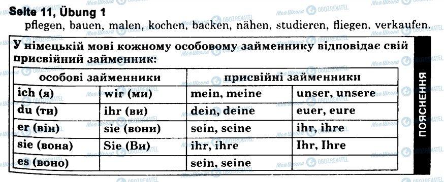 ГДЗ Німецька мова 6 клас сторінка s11u1