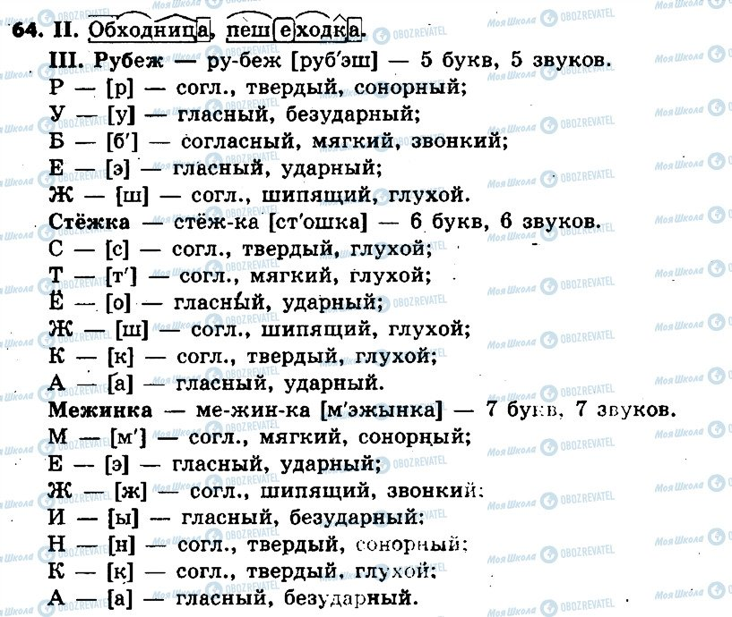 ГДЗ Російська мова 6 клас сторінка 64
