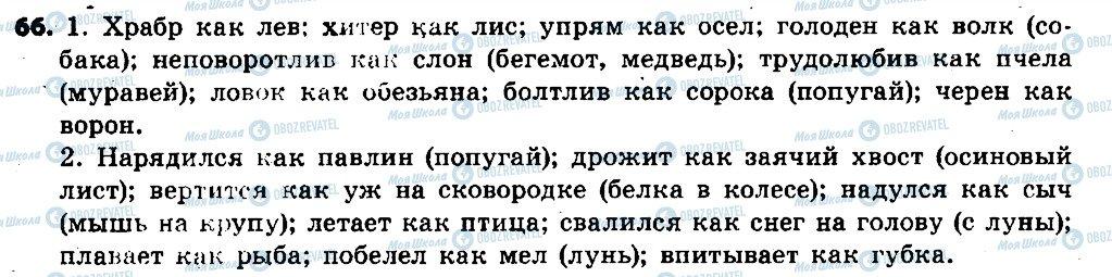 ГДЗ Російська мова 6 клас сторінка 66
