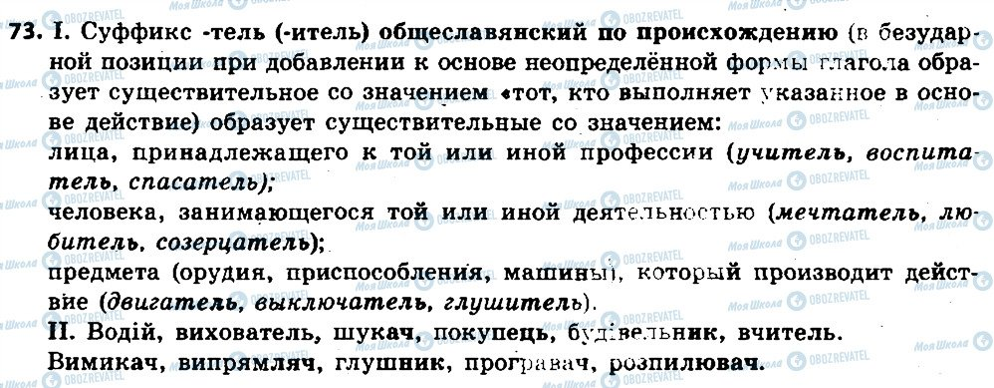 ГДЗ Російська мова 6 клас сторінка 73