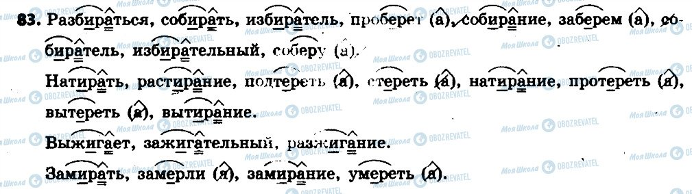 ГДЗ Російська мова 6 клас сторінка 83